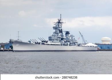 Camden, New Jersey, USA - June 14, 2015: Battleship New Jerseys an Iowa-class battleship is now a museum ship (Oct 15, 2001) along the Delaware River waterfront in Camden, New Jersey on June 14, 2015