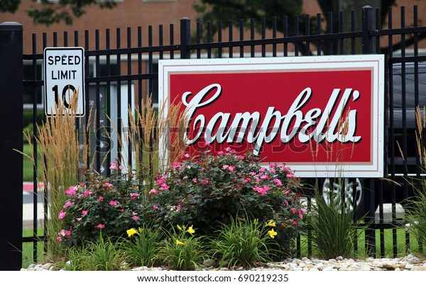 CAMDEN, NJ - JULY 17: A sign at the entrance to the Campbell Soup Company World Headquarters in Camden, New Jersey on July 17, 2017. The Campbell Soup Company is an American producer of canned soups.