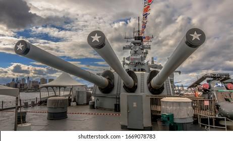 "Camden, NJ USA 06 15 2015: Beautiful view of the mighty Iowa Class Battleship New Jersey main 16""/50 caliber Mark 7 battery three-gun turret. Most decorated battleship in the US Navy's history docked."