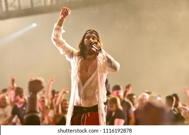 CAMDEN, NJ-JUNE 17: Jared Leto of 30 Seconds to Mars performs on June 17, 2018 at BB&T Pavilion in Camden, New Jersey.
