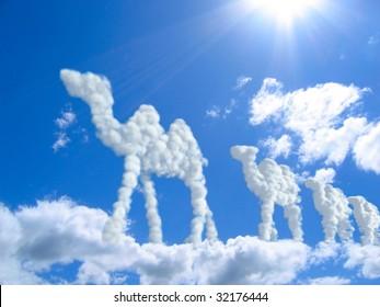 camel caravan in clouds. clouds concept