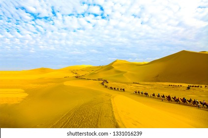 Camel caravan in sand desert landscape. Camel caravans in desert scene. Sand desert camel caravan panorama. Camel caravan in desert