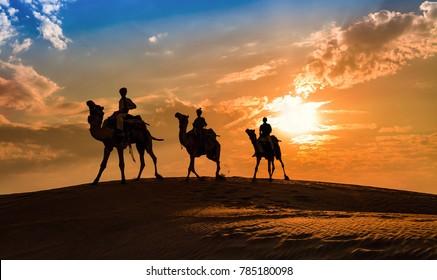 Camel caravan silhouette at Thar desert, Rajasthan, India at sunset.