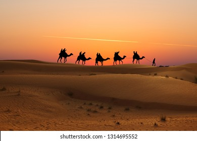 Camel caravan with tourists at sunset in Arabian Dessert