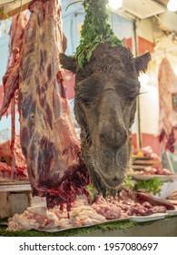 Camel head in a meat shop in Fes old town bazaar, Morocco