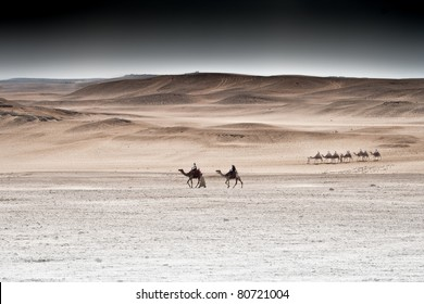 Camel riders in the desert, Egypt