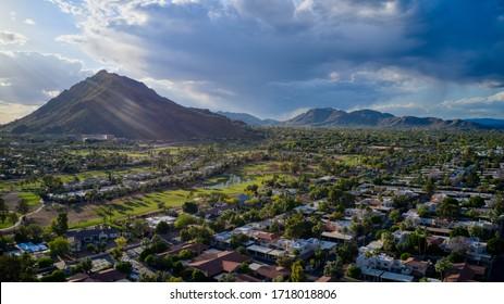 Camelback Mountain after a rainstorm in Scottsdale, AZ.