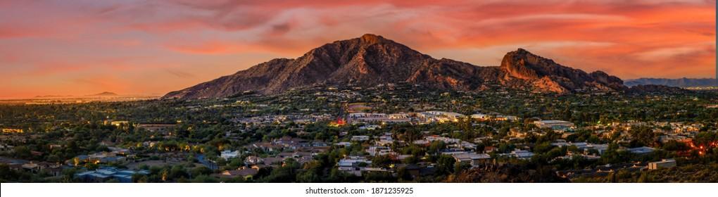 Camelback Mountain in phoenix arizona with sunset