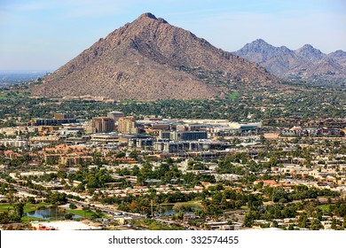 Camelback Mountain and the skyline of old town Scottsdale, Arizona from above