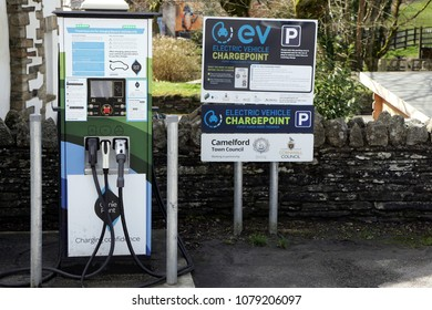 Camelford, Cornwall, UK - April 10 2018: An Electric Vehicle Charge Point for the public to use for plug-in vehicles, in a car park.