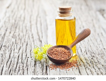 Camelina oil on wooden board