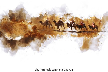 Camels and people walking on the sand dune of desert, the silk road in China,  digital watercolor illustration