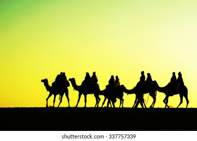 Camels silhouettes in dunes on sunset, Jaisalmer, India