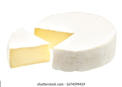 Camembert or brie cheese isolated on white background. Soft cheese covered with edible white mold view from above. Clipping path.