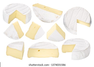 Camembert or brie soft-ripened cheese with white mold, pieces, wheels, halves