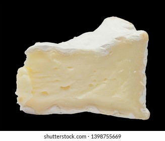 Camembert cheese isolated on black background