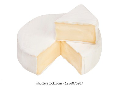 Camembert cheese on a white background. a piece of camembert cheese
