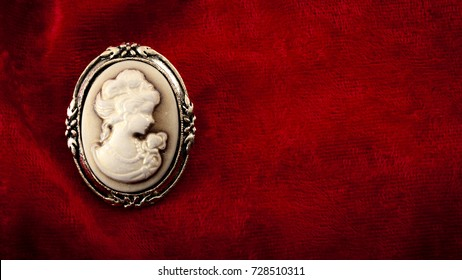 Cameo brooch representing the side portrait of a woman carved in white stone or ivory with golden elements on burgundy red velvet with copy space