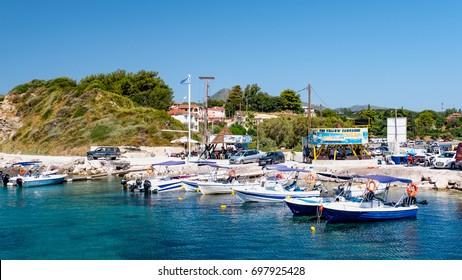 Cameo Island and Agios Sostis port in Zakynthos island, Greece: JUNE 30, 2017