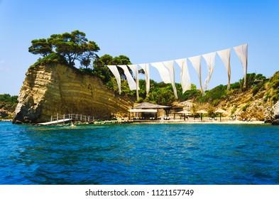 Cameo island at sunny day. Famous beach inside the bay of Cameo island near Zakynthos, Greece