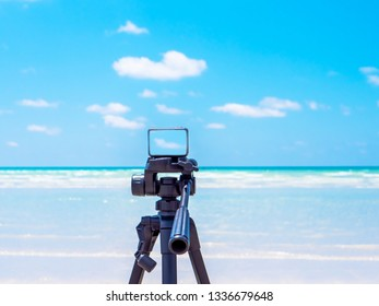 Camera Action with sea in summer.