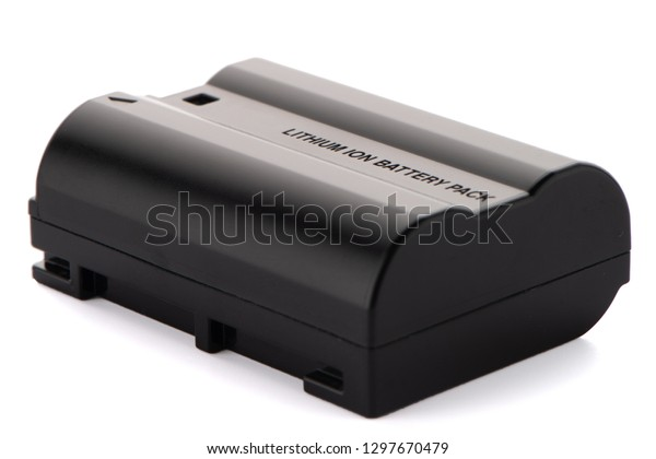Camera battery pack isolated on white background.