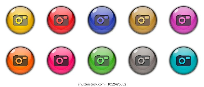 Camera Button icon 3D Multicolor