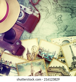 Camera and collage of old photo. Traveling concept.