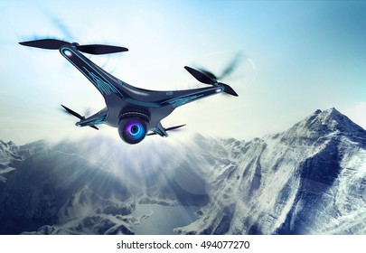 camera drone flying over glacier rocky mountains, futuristic black drone nature exploration 3D illustration