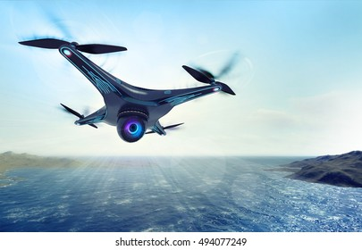 camera drone flying over sea water, futuristic black drone nature exploration 3D illustration