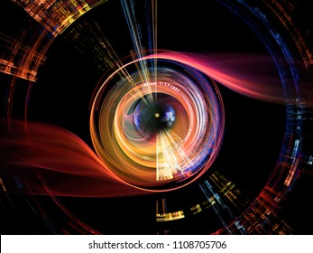 Camera Eye series. Background composed of photo lens and fractal elements on the subject of digital photography and creativity.