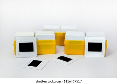 camera film slides  on white background ,old technology   of photography