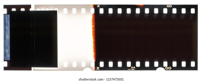 Camera film strip, isolated on white background, film strip end with no pictures on it, Real high-res 35mm photo scan