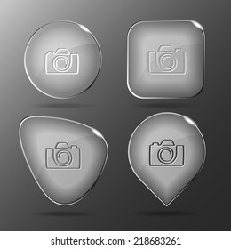 Camera. Glass buttons. Raster illustration.