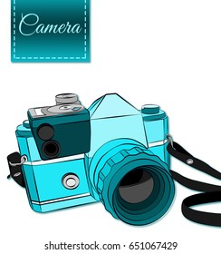 Camera illustration in shades of blue