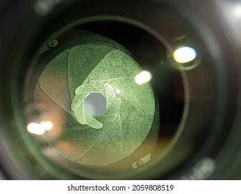 camera lens aperture blades close up