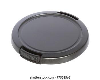 Camera lens cap isolated on white background