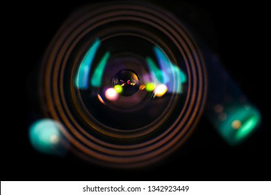camera lens close-up background, concept supervision safety