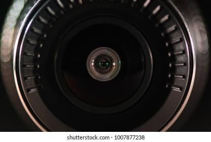The camera lens with colored light, close photos, close up