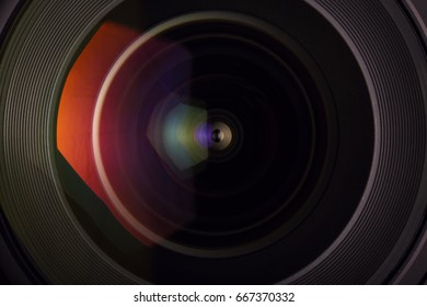 Camera lens detail front glass of wide angle photography DSLR camera lens macro shot
