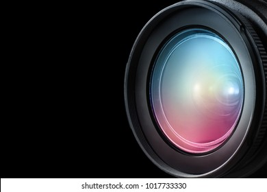 Camera lens isolated on black background