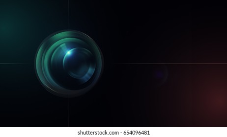 Camera lens with lense reflections. 3d illustration