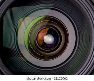 Camera lens with reflection closeup