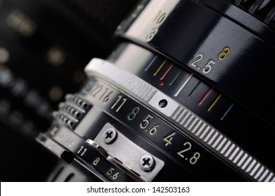 Camera lens scale close-up. Aperture and distance scale.