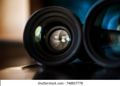 Camera lense closeup. Photography equipment