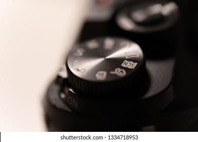 Camera mode dial close up view