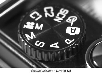 Camera mode dial wheel. Macro photography