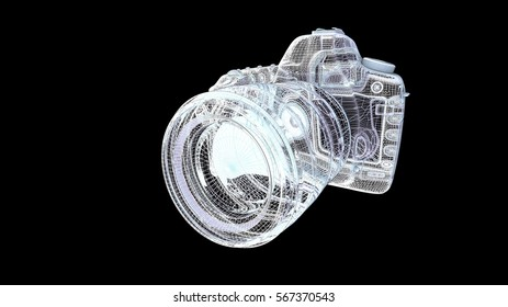 camera model body structure, wire model / 3d rendering