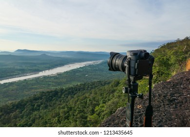 A camera with mountain view on Chana Dai cliff, Ubon Ratchathani Thailand