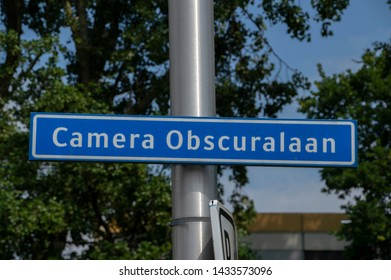 Camera Obscuralaan Street Sign At Amstelveen The Netherlands 2019